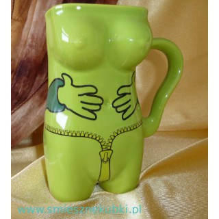 Kubek ceramiczny - damski -łapki-zielony
