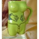 Kubek ceramiczny damski łapki zielony