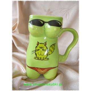 Kubek ceramiczny - damski-Kotek-zielony