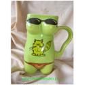 Kubek ceramiczny  damski Kotek zielony