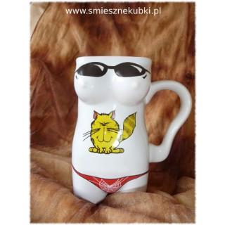 Kubek ceramiczny  damski Kotek biały