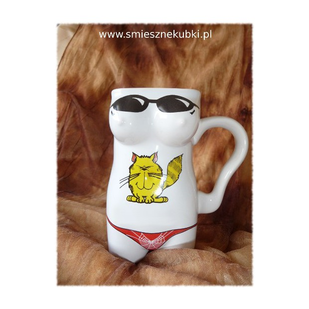 Kubek ceramiczny - damski-Kotek-biały