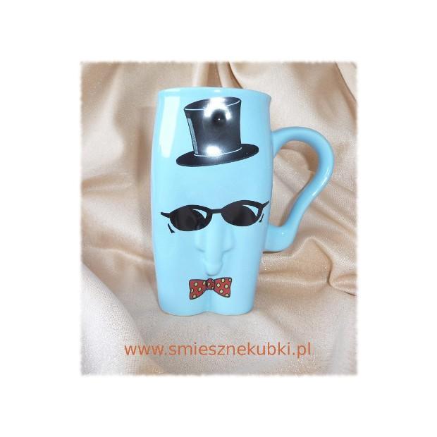 kubki ceramiczne - męskie-facet w okularach -niebieski