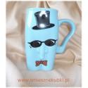 kubki ceramiczne męskie facet w okularach niebieski