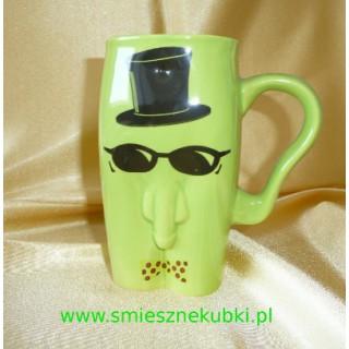 Kubki ceramiczne - męskie-facet w okularach-zielony