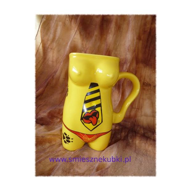 Kubek ceramiczny - damski -Krawat-żółty