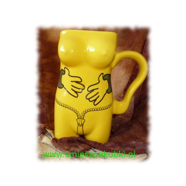 Kubek ceramiczny - damski -łapki-ŻÓŁTY