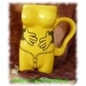 Kubek ceramiczny  damski łapki żółty