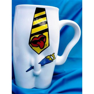 Kubki ceramiczne - męskie-Krawat- biały